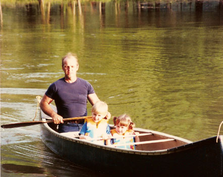 Uncle John canoeing with John and Hannah