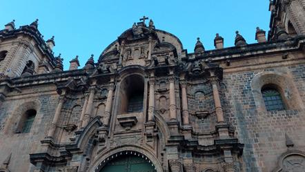 Close up of the Catedral de Cusco.