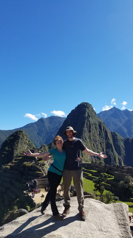 Emily and I overlooking Machu Picchu.