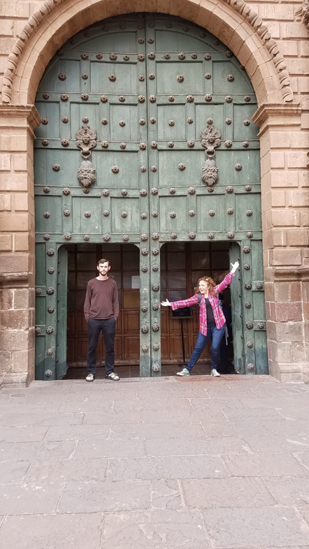 Emily and I in the small doors of Iglesia de El Triunfo.