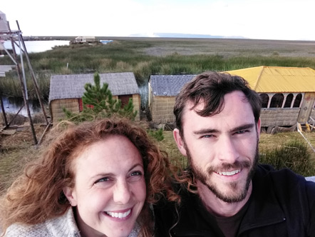Emily and I in front of the sea of reeds on Lake Titicaca.