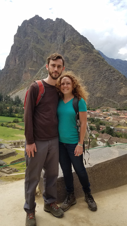 Emily and I at the ruins with Ollantaytambo and Pincuiluna Mountain behind us