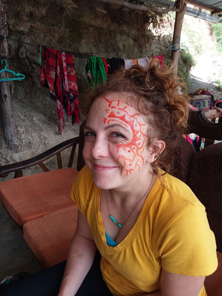 Emily at the Monkey House coffee plantation.