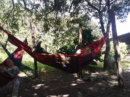 Emily relaxing in her hammock.