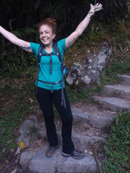 Emily on the 1,000th stair on the trail to Machu Picchu.