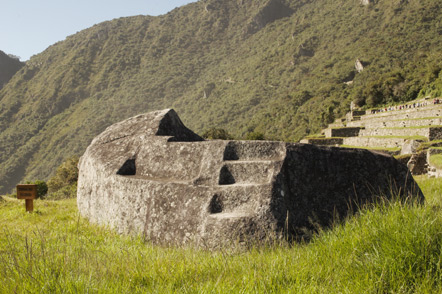 The funerary rock was used in the mummification process. The altars and most significant stones are mostly black. Black is the Incan color for purity.