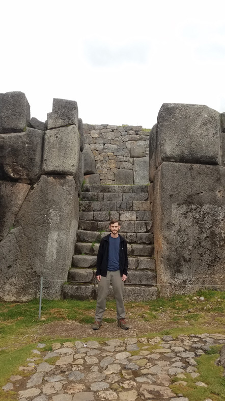 Huge stone entryway. Richard for scale.