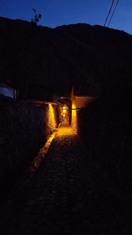 Ollantaytambo at night.