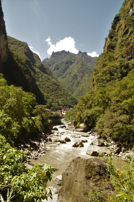 Our first view of Aguas Calientes.