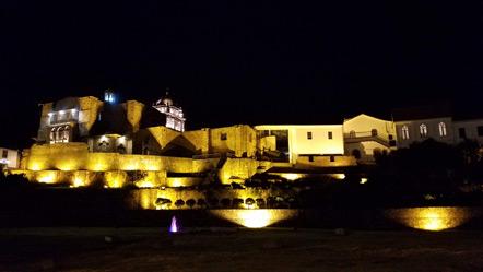 The Qorikancha at night.