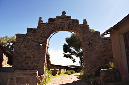 The archway on Taquile Island that serves as the entry way to the town.