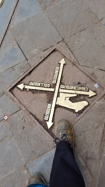 A sidewalk marker pointing to the four ends of the Incan empire and the four main Incan trails.