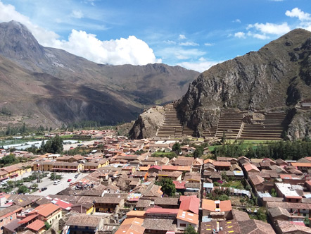 The view of Ollantaytambo from the granary ruins.